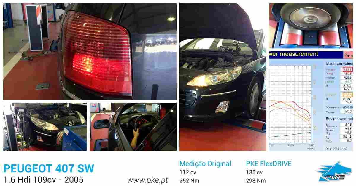 PKE FlexDRIVE em Peugeot 407 SW 1.6 Hdi 109cv – 2005